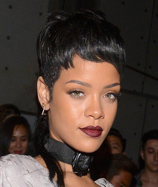 Rihanna burgundy lips