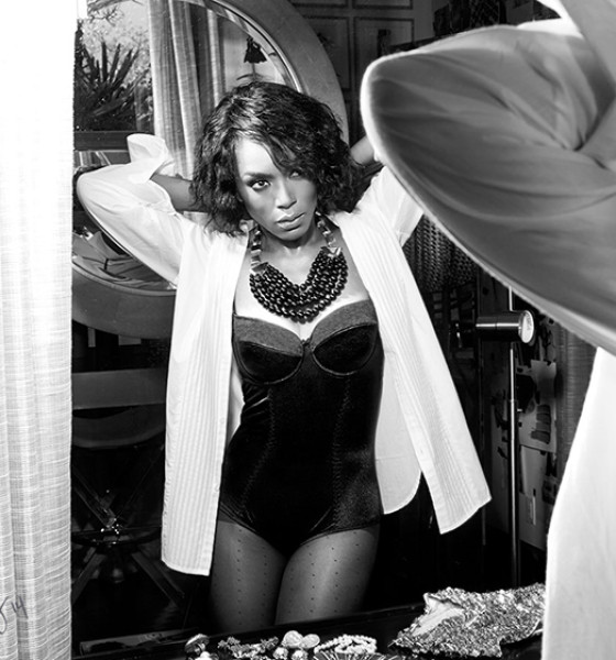 Angela Bassett Bares all in Violet Grey Lingerie Shoot