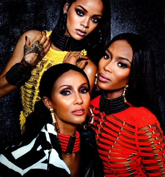 Iman, Naomi, & Rihanna in Balmain Fashion Editorial in 'W' Magazine