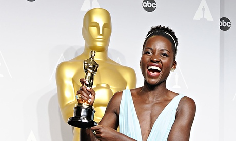 Lupita Nyong'o with her Oscar.