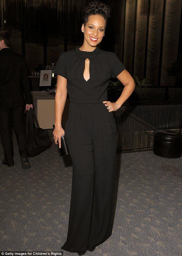 Alicia Keys in black jumsuit