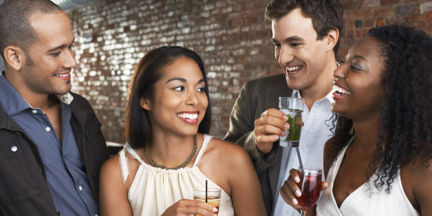 Couples Talking in Bar