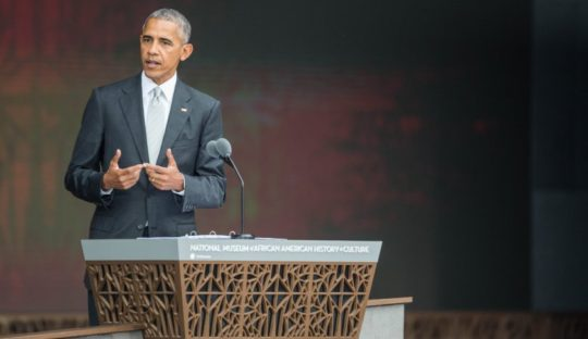 US President Barack Obama speaks during the opening ceremony for the Smithsonian National Museum of African American History and Culture on September 24, 2016 in Washington, D.C. / AFP / ZACH GIBSON (Photo credit should read ZACH GIBSON/AFP/Getty Images)